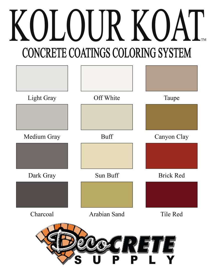 Manufacturer color charts deco crete supply kolour koat color chart nvjuhfo Image collections