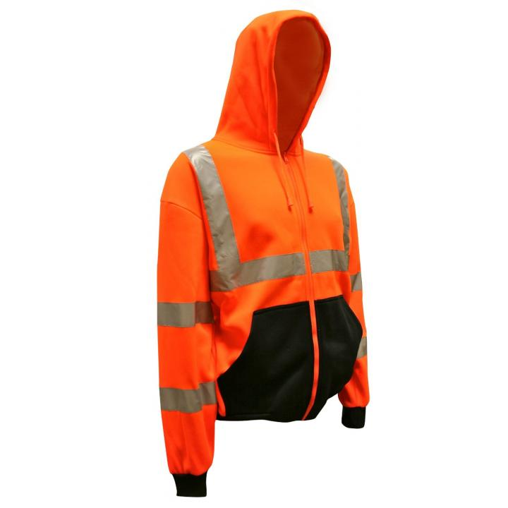 Orange Class III Hooded Zipper Sweatshirt